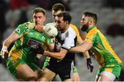 19 January 2020; Aidan Branagan of Kilcoo in action against, from left, Bernard Power, Cathal Silke and Conor Cunningham of Corofin during the AIB GAA Football All-Ireland Senior Club Championship Final between Corofin and Kilcoo at Croke Park in Dublin. Photo by Sam Barnes/Sportsfile