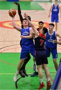 21 January 2020; Cian Roughan of St Flannan's College in action against Tony Bonki Ilonky and Cian Talbot Gaynor of Ballymakenny College during the Basketball Ireland U19 C Boys Schools Cup Final match between Ballymakenny College and St Flannan's College, Ennis at the National Basketball Arena in Tallaght, Dublin. Photo by Brendan Moran/Sportsfile