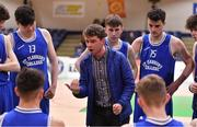 21 January 2020; St Flannan's College coach Darren Scully speaks to his players during the Basketball Ireland U19 C Boys Schools Cup Final match between Ballymakenny College and St Flannan's College, Ennis at the National Basketball Arena in Tallaght, Dublin. Photo by Brendan Moran/Sportsfile