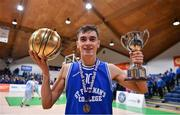 21 January 2020; St Flannan's College captain Kevin Nugent celebrates with the MVP award and the cup after the Basketball Ireland U19 C Boys Schools Cup Final match between Ballymakenny College and St Flannan's College, Ennis at the National Basketball Arena in Tallaght, Dublin. Photo by Brendan Moran/Sportsfile