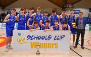 21 January 2020; The St Flannan's College team celebrate with the cup after the Basketball Ireland U19 C Boys Schools Cup Final match between Ballymakenny College and St Flannan's College, Ennis at the National Basketball Arena in Tallaght, Dublin. Photo by Brendan Moran/Sportsfile