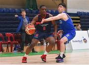 21 January 2020; Kingsley Akinbode of Ballymakenny College in action against Kevin Moloney of St Flannan's College during the Basketball Ireland U19 C Boys Schools Cup Final match between Ballymakenny College and St Flannan's College, Ennis at the National Basketball Arena in Tallaght, Dublin. Photo by Daniel Tutty/Sportsfile