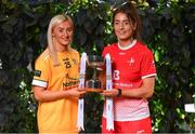 21 January 2020; In attendance at the launch of the 2020 Lidl Ladies National Football Leagues at Lidl Ireland Head Office in Tallaght, Dublin, are Áine Tubridy of Antrim, left, and Eimear Byrne of Louth. Photo by Seb Daly/Sportsfile