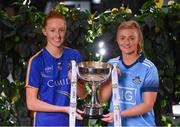 21 January 2020; In attendance at the launch of the 2020 Lidl Ladies National Football Leagues at Lidl Ireland Head Office in Tallaght, Dublin, are Aishling Moloney of Tipperary, left, and Carla Rowe of Dublin. Photo by Seb Daly/Sportsfile