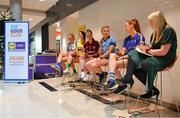 21 January 2020; MC Jacqui Hurley, right, in conversation with Lidl Ladies National League players, from left, Caoimhe McGrath of Waterford, Emer Gallagher of Donegal, Nicola Ward of Galway, Carla Rowe of Dublin, and Aishling Moloney of Tipperary, during the launch of the 2020 Lidl Ladies National Football Leagues at Lidl Ireland Head Office in Tallaght, Dublin.  Photo by Seb Daly/Sportsfile