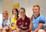 21 January 2020; Carla Rowe of Dublin is pictured speaking at the launch of the 2020 Lidl Ladies National Football Leagues at Lidl Ireland Head Office in Tallaght, Dublin.  Photo by Seb Daly/Sportsfile