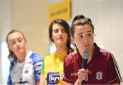 21 January 2020; Nicola Ward of Galway is pictured speaking at the launch of the 2020 Lidl Ladies National Football Leagues at Lidl Ireland Head Office in Tallaght, Dublin.  Photo by Seb Daly/Sportsfile