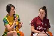 21 January 2020; Emer Gallagher of Donegal, left, and Nicola Ward of Galway are pictured during the launch of the 2020 Lidl Ladies National Football Leagues at Lidl Ireland Head Office in Tallaght, Dublin.  Photo by Seb Daly/Sportsfile