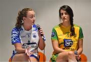 21 January 2020; Caoimhe McGrath of Waterford, left, and Emer Gallagher of Donegal, are pictured during the launch of the 2020 Lidl Ladies National Football Leagues at Lidl Ireland Head Office in Tallaght, Dublin.  Photo by Seb Daly/Sportsfile