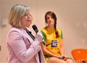 21 January 2020; Marie Hickey, LGFA President, is pictured speaking at the launch of the 2020 Lidl Ladies National Football Leagues at Lidl Ireland Head Office in Tallaght, Dublin.  Photo by Seb Daly/Sportsfile