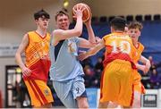 21 January 2020; Ruairi Cronin of Castletroy College in action against Ryan Keenaghan and Shane Delahunty of Coláiste Cholmcille during the Basketball Ireland U16 B Boys Schools Cup Final match between Coláiste Cholmcille, Ballyshannon and Castletroy College at the National Basketball Arena in Tallaght, Dublin. Photo by Brendan Moran/Sportsfile