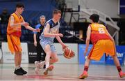 21 January 2020; Ruairi Cronin of Castletroy College in action against Shane Delahunty and Ryan Keenaghan of Coláiste Cholmcille during the Basketball Ireland U16 B Boys Schools Cup Final match between Coláiste Cholmcille, Ballyshannon and Castletroy College at the National Basketball Arena in Tallaght, Dublin. Photo by Brendan Moran/Sportsfile