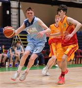 21 January 2020; Ruairi Cronin of Castletroy College in action against Ryan Mullane of Castletroy College during the Basketball Ireland U16 B Boys Schools Cup Final match between Coláiste Cholmcille, Ballyshannon and Castletroy College at the National Basketball Arena in Tallaght, Dublin. Photo by Brendan Moran/Sportsfile