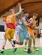 21 January 2020; Ciaran Coulter of Castletroy College in action against Drew Heatley Ryan and Darragh Dolan of Coláiste Cholmcille during the Basketball Ireland U16 B Boys Schools Cup Final match between Coláiste Cholmcille, Ballyshannon and Castletroy College at the National Basketball Arena in Tallaght, Dublin. Photo by Brendan Moran/Sportsfile