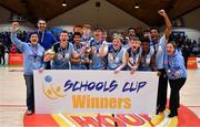 21 January 2020; The Castletroy College team celebrate with the cup after the Basketball Ireland U16 B Boys Schools Cup Final match between Coláiste Cholmcille, Ballyshannon and Castletroy College at the National Basketball Arena in Tallaght, Dublin. Photo by Brendan Moran/Sportsfile