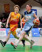21 January 2020; Ruairi Cronin of Castletroy College in action against James S Gallagher of Coláiste Cholmcille during the Basketball Ireland U16 B Boys Schools Cup Final match between Coláiste Cholmcille, Ballyshannon and Castletroy College at the National Basketball Arena in Tallaght, Dublin. Photo by Brendan Moran/Sportsfile