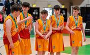 21 January 2020; Dejected players from Coláiste Cholmcille after the Basketball Ireland U16 B Boys Schools Cup Final match between Coláiste Cholmcille, Ballyshannon and Castletroy College at the National Basketball Arena in Tallaght, Dublin. Photo by Brendan Moran/Sportsfile