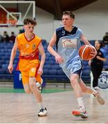 21 January 2020; Ruairi Cronin of Castletroy College in action against Darragh Dolan of Coláiste Cholmcille during the Basketball Ireland U16 B Boys Schools Cup Final match between Coláiste Cholmcille, Ballyshannon and Castletroy College at the National Basketball Arena in Tallaght, Dublin. Photo by Brendan Moran/Sportsfile