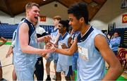 21 January 2020; Ruairi Cronin, left, and Ryan Mullane of Castletroy College celebrate after the Basketball Ireland U16 B Boys Schools Cup Final match between Coláiste Cholmcille, Ballyshannon and Castletroy College at the National Basketball Arena in Tallaght, Dublin. Photo by Brendan Moran/Sportsfile