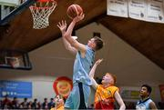 21 January 2020; Ruairi Cronin of Castletroy College in action against Drew Heatley Ryan of Coláiste Cholmcille during the Basketball Ireland U16 B Boys Schools Cup Final match between Coláiste Cholmcille, Ballyshannon and Castletroy College at the National Basketball Arena in Tallaght, Dublin. Photo by Brendan Moran/Sportsfile