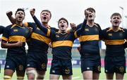 21 January 2020; The Kings Hospital players, including David Brennan, centre, celebrate following the Bank of Ireland Vinnie Murray Cup Semi-Final match between The King's Hospital and CUS at Energia Park in Dublin. Photo by Sam Barnes/Sportsfile