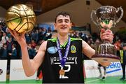 21 January 2020; Steven Bowler of Mercy Mounthawk celebrates with his MVP award and the cup after the Basketball Ireland U19 A Boys Schools Cup Final match between Mercy Mounthawk and St Patrick's Castleisland at the National Basketball Arena in Tallaght, Dublin. Photo by Brendan Moran/Sportsfile