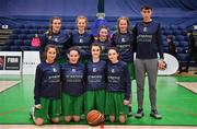 21 January 2020; The St Nathy's team prior to the Basketball Ireland U16 C Girls Schools Cup Final match between St Nathy's College and St Joseph's, Ballybunion at the National Basketball Arena in Tallaght, Dublin. Photo by Brendan Moran/Sportsfile
