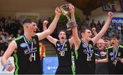 21 January 2020; Mercy Mounthawk co-captains Daire Kennelly, left, and Steven Bowler celebrate with the cup after the Basketball Ireland U19 A Boys Schools Cup Final match between Mercy Mounthawk and St Patrick's Castleisland at the National Basketball Arena in Tallaght, Dublin. Photo by Daniel Tutty/Sportsfile