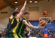 21 January 2020; Daire Kennelly of Mercy Mounthawk in action against Donal Geaney of St Patrick's during the Basketball Ireland U19 A Boys Schools Cup Final match between Mercy Mounthawk and St Patrick's Castleisland at the National Basketball Arena in Tallaght, Dublin. Photo by Daniel Tutty/Sportsfile