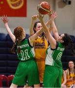 21 January 2020; Nora Fitzsimons of St Joseph's in action against Sarah Brett and Nicole Noonan of St Nathy's College during the Basketball Ireland U16 C Girls Schools Cup Final match between St Nathy's College and St Joseph's, Ballybunion at the National Basketball Arena in Tallaght, Dublin. Photo by Brendan Moran/Sportsfile