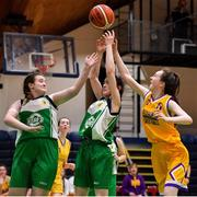 21 January 2020; Nora Fitzsimons of St Joseph's, right, in action against Leah McCabe and Hannah Brett of St Nathy's College during the Basketball Ireland U16 C Girls Schools Cup Final match between St Nathy's College and St Joseph's, Ballybunion at the National Basketball Arena in Tallaght, Dublin. Photo by Brendan Moran/Sportsfile