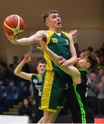 21 January 2020; Jack Tobin of St Patrick's in action against Zigi Kalekta of Mercy Mounthawk during the Basketball Ireland U19 A Boys Schools Cup Final match between Mercy Mounthawk and St Patrick's Castleisland at the National Basketball Arena in Tallaght, Dublin. Photo by Daniel Tutty/Sportsfile