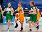 21 January 2020; Caoimhe O'Connor of St Joseph's in action against Nicole Noonan, left, and Naomi Cahill of St Nathy's College during the Basketball Ireland U16 C Girls Schools Cup Final match between St Nathy's College and St Joseph's, Ballybunion at the National Basketball Arena in Tallaght, Dublin. Photo by Brendan Moran/Sportsfile