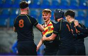 21 January 2020; Paddy Byrne of Temple Carrig School celebrates with team-mates after scoring his sides second try during the Bank of Ireland Vinnie Murray Cup Semi-Final match between Temple Carrig School and The High School at Energia Park in Dublin. Photo by Sam Barnes/Sportsfile