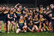21 January 2020; Temple Carrig School players celebrate following the Bank of Ireland Vinnie Murray Cup Semi-Final match between Temple Carrig School and The High School at Energia Park in Dublin. Photo by Sam Barnes/Sportsfile