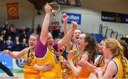 21 January 2020; St Joseph's captain Millie Byrne and her team-mates celebrate with the cup after the Basketball Ireland U16 C Girls Schools Cup Final match between St Nathy's College and St Joseph's, Ballybunion at the National Basketball Arena in Tallaght, Dublin. Photo by Daniel Tutty/Sportsfile