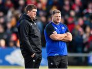 18 January 2020; Bath Director of Rugby, Stuart Hooper, left, with Neal Hatley, Forwards & Defence Coach, before the Heineken Champions Cup Pool 3 Round 6 match between Ulster and Bath at Kingspan Stadium in Belfast. Photo by Oliver McVeigh/Sportsfile