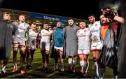18 January 2020; Ulster players, from left, Jordi Murphy, Kieran Treadwell, Luke Marshall, Sean Reidy, Tom O'Toole, Alan O'Connor, Ross Kane, Rob Baloucoune and Adam McBurney, huddle after the Heineken Champions Cup Pool 3 Round 6 match between Ulster and Bath at Kingspan Stadium in Belfast. Photo by Oliver McVeigh/Sportsfile