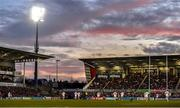 18 January 2020; A general view of the sun set during the Heineken Champions Cup Pool 3 Round 6 match between Ulster and Bath at Kingspan Stadium in Belfast. Photo by Oliver McVeigh/Sportsfile