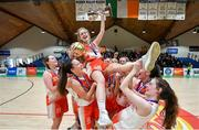 22 January 2020; Scoil Chríost Rí, Portlaoise players lift their captain and MVP winner Ciara Byrne following the Basketball Ireland U19 A Girls Schools Cup Final match between Our Lady of Mercy, Waterford and Scoil Chríost Rí, Portlaoise at the National Basketball Arena in Tallaght, Dublin. Photo by David Fitzgerald/Sportsfile