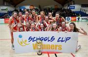 22 January 2020; Scoil Chríost Rí, Portlaoise players celebrate following the Basketball Ireland U19 A Girls Schools Cup Final match between Our Lady of Mercy, Waterford and Scoil Chríost Rí, Portlaoise at the National Basketball Arena in Tallaght, Dublin. Photo by David Fitzgerald/Sportsfile