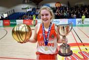 22 January 2020; Scoil Chríost Rí, Portlaoise captain Ciara Byrne celebrates with the trophy and her MVP award following the Basketball Ireland U19 A Girls Schools Cup Final match between Our Lady of Mercy, Waterford and Scoil Chríost Rí, Portlaoise at the National Basketball Arena in Tallaght, Dublin. Photo by David Fitzgerald/Sportsfile