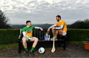 22 January 2020; In attendance at the launch of the 2020 Allianz Leagues at Malone House, Belfast are Donegal footballer Jamie Brennan, left, and Antrim hurler Neil McManus. 2020 marks the 28th year of Allianz' partnership with the GAA as sponsors of the Allianz Leagues. Photo by Brendan Moran/Sportsfile