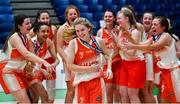 22 January 2020; Ciara Byrne of Scoil Chríost Rí, Portlaoise on her way to receiving her MVP award following the Basketball Ireland U19 A Girls Schools Cup Final match between Our Lady of Mercy, Waterford and Scoil Chríost Rí, Portlaoise at the National Basketball Arena in Tallaght, Dublin. Photo by David Fitzgerald/Sportsfile