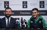 22 January 2020; Ireland captain Jonathan Sexton, right, and head coach Andy Farrell during the Guinness Six Nations Rugby Championship Launch 2020 at Tobacco Dock in London, England. Photo by Ramsey Cardy/Sportsfile