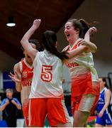 22 January 2020; Players, from right, Ella Byrne, Jade Burke and Faith Umeh of Scoil Chríost Rí, Portlaoise celebrate following the Basketball Ireland U19 A Girls Schools Cup Final match between Our Lady of Mercy, Waterford and Scoil Chríost Rí, Portlaoise at the National Basketball Arena in Tallaght, Dublin. Photo by David Fitzgerald/Sportsfile