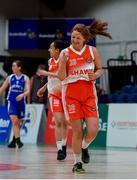 22 January 2020; Rachel Glynn of Scoil Chríost Rí, Portlaoise, left, celerbates a late point during the Basketball Ireland U19 A Girls Schools Cup Final match between Our Lady of Mercy, Waterford and Scoil Chríost Rí, Portlaoise at the National Basketball Arena in Tallaght, Dublin. Photo by David Fitzgerald/Sportsfile