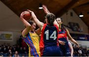 22 January 2020; Bronagh Barker of St Patrick's Academy Dungannon in action against Emma Mullins of St Colmcille's C.S, Knocklyon during the Basketball Ireland U19 B Girls Schools Cup Final match between St Patrick's Academy Dungannon and St Colmcille's CS, Knocklyon at the National Basketball Arena in Tallaght, Dublin. Photo by David Fitzgerald/Sportsfile
