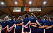 22 January 2020; St Colmcille's C.S, Knocklyon players stand for the playing of Amhrán na bhFiann during the Basketball Ireland U19 B Girls Schools Cup Final match between St Patrick's Academy Dungannon and St Colmcille's CS, Knocklyon at the National Basketball Arena in Tallaght, Dublin. Photo by David Fitzgerald/Sportsfile