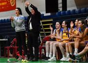 22 January 2020; St Patrick's Academy Dungannon head coach Laura Barker, left, and assistant coach Fintan Colgan react during the Basketball Ireland U19 B Girls Schools Cup Final match between St Patrick's Academy Dungannon and St Colmcille's CS, Knocklyon at the National Basketball Arena in Tallaght, Dublin. Photo by David Fitzgerald/Sportsfile